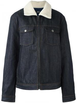 Джинсовая куртка на молнии A.P.C.. Цвет: синий