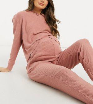 Розовые мягкие домашние джоггеры в рубчик с выступом для животика (от комплекта)-Розовый New Look Maternity