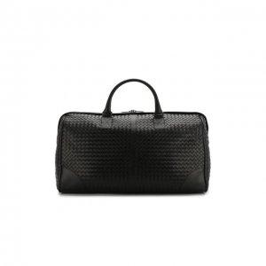 Кожаная дорожная сумка с плетением intrecciato Bottega Veneta. Цвет: чёрный