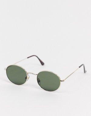 Золотистые круглые солнцезащитные очки -Золотой Topman