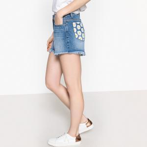 Шорты джинсовые с карманами сзади цветочным рисунком LA REDOUTE COLLECTIONS. Цвет: синий потертый