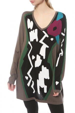 Пуловер Marina Rinaldi. Цвет: корич.,  белый, черный, зел.
