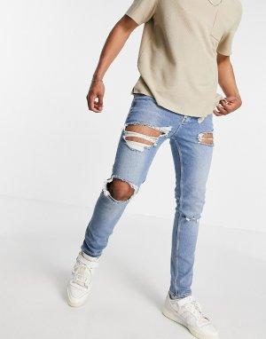 Синие зауженные джинсы выбеленного цвета со рваной отделкой и краями в винтажном стиле -Голубой ASOS DESIGN