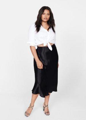Сатиновая миди-юбка - Safura Mango. Цвет: черный
