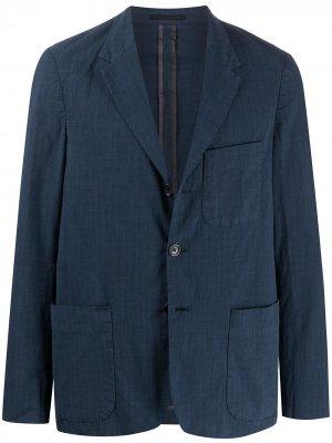 Пиджак в клетку на пуговицах PS Paul Smith. Цвет: синий
