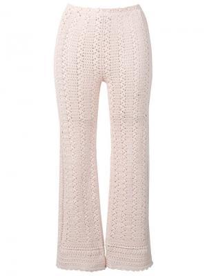 Укороченные брюки в технике кроше Alberta Ferretti. Цвет: бежевый