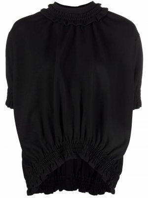 Блузка с объемными рукавами и сборками Simone Rocha. Цвет: черный