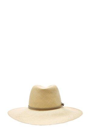 Соломенная шляпа с лентой из кожи AGNONA. Цвет: бежевый