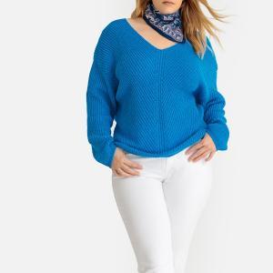 Пуловер с V-образным вырезом из плотного трикотажа CASTALUNA. Цвет: синий
