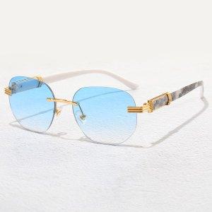 Мужские геометрические ссолнцезащитные очки без оправы SHEIN. Цвет: нежно-голубой
