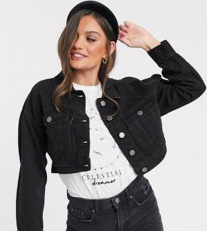 Черная джинсовая куртка ASOS DESIGN Petite-Черный цвет Petite