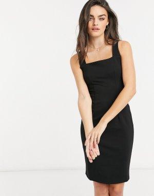 Черное платье-футляр мини с квадратным вырезом -Черный Closet London