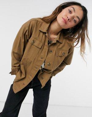 Куртка цвета хаки в утилитарном стиле -Зеленый Kaffe