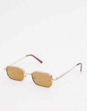 Квадратные узкие солнцезащитные очки в золотистой оправе -Золотистый AJ Morgan