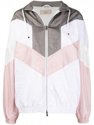 Куртка в стиле колор-блок со вставками Maison Flaneur. Цвет: белый