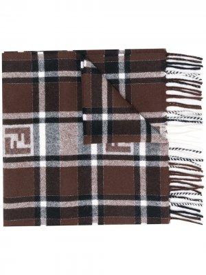 Клетчатый шарф с логотипом FF Fendi. Цвет: коричневый