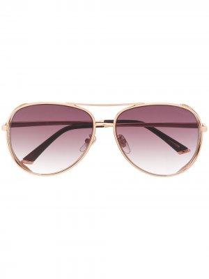 Декорированные солнцезащитные очки-авиаторы Chopard Eyewear. Цвет: золотистый