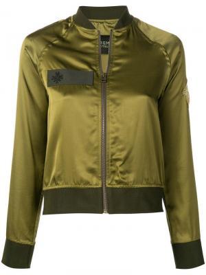 Куртка-бомбер с контрастной отделкой Mr & Mrs Italy. Цвет: зеленый