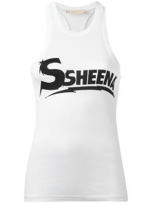 Майка с логотипом Ssheena. Цвет: белый