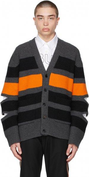 Grey Wool Cut-Out Cardigan Burberry. Цвет: charcoal
