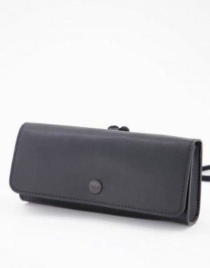 Чехол для солнцезащитных очков из черной искусственной кожи -Черный цвет ASOS DESIGN