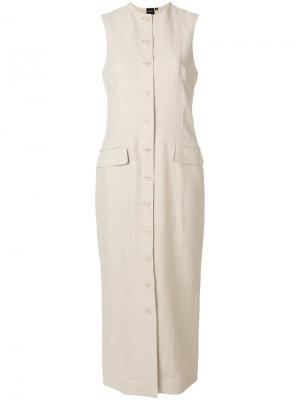 Платье длины миди с застежкой на пуговицы Aspesi. Цвет: бежевый
