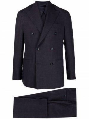 Костюм с двубортным пиджаком Barba. Цвет: синий