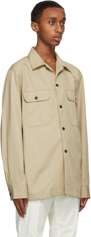 Beige Cotton Twill Over Shirt Dunhill. Цвет: 280 beige