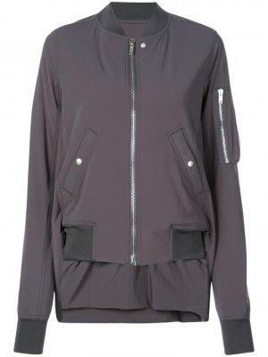 Куртка-бомбер с асимметричным подолом Rick Owens. Цвет: серый