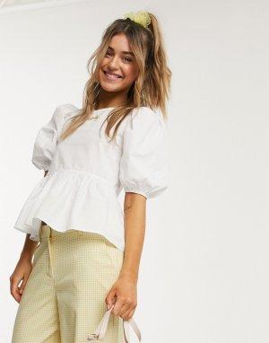 Белая блузка из органического хлопка с пышными рукавами -Белый Monki