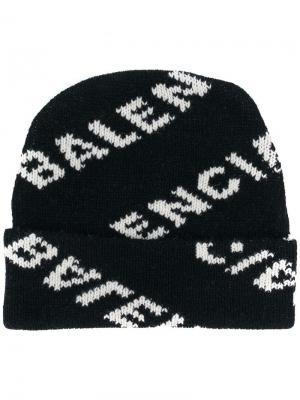 Шапка бини с логотипом Balenciaga. Цвет: черный
