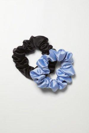 Атласные резинки для волос Lil Weekday. Цвет: черный, разноцветный, синий