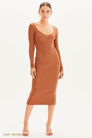 Платье-лапша с длинным рукавом LOVE REPUBLIC