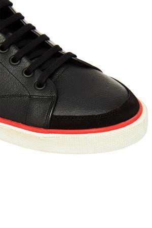 Черные кожаные кеды Balenciaga Man. Цвет: черный