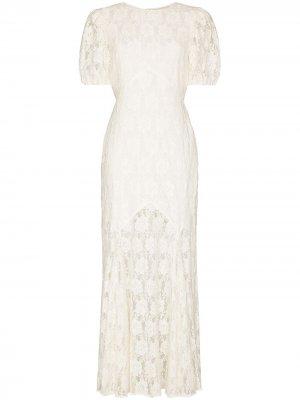 Кружевное платье Louella с короткими рукавами Rixo. Цвет: белый