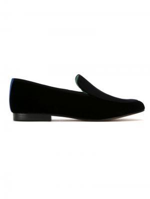 Velvet Boysh embroidered loafers Blue Bird Shoes. Цвет: черный