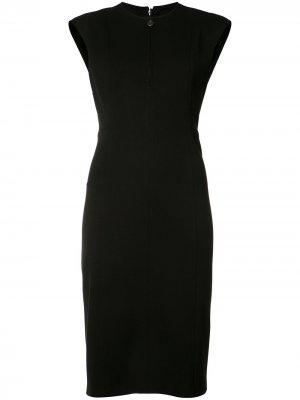 Платье-футляр с вырезом на молнии Akris Punto. Цвет: черный