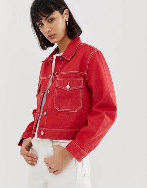 Recycled edition denim jacket in red Weekday. Цвет: красный
