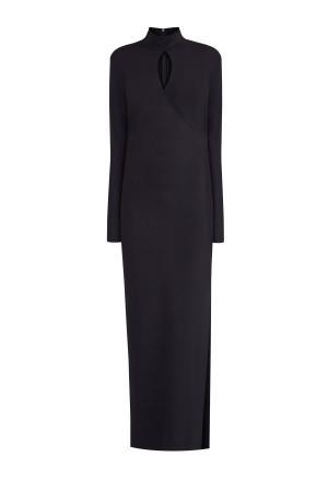 Платье-макси из струящейся ткани с высоким разрезом на подоле ALEXANDER TEREKHOV. Цвет: черный