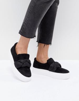 Черные кроссовки oversize на платформе Lost Ink. Цвет: черный