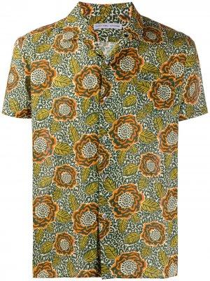 Рубашка с короткими рукавами и цветочным принтом Daniele Alessandrini. Цвет: зеленый