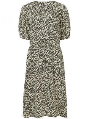 Платье миди с леопардовым принтом A.P.C.. Цвет: бежевый