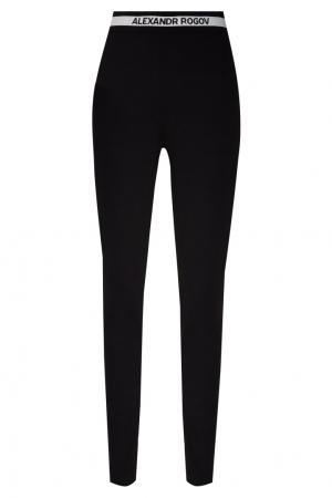 Черные брюки с контрастным поясом Alexandr Rogov. Цвет: черный