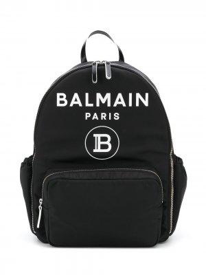 Рюкзак с карманами и логотипом Balmain Kids. Цвет: черный