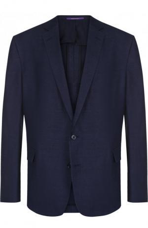 Пиджак из смеси хлопка и льна Ralph Lauren. Цвет: синий
