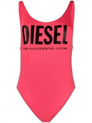 Купальник с логотипом Diesel. Цвет: розовый