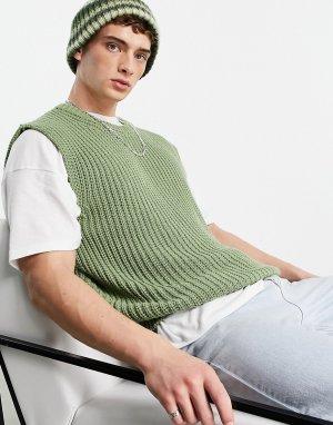 Шалфейно-зеленый oversized-жилет с круглым вырезом и карманом -Зеленый цвет Topman