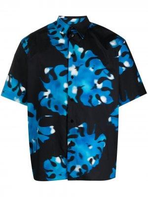 Рубашка с короткими рукавами и абстрактным принтом MSGM. Цвет: черный