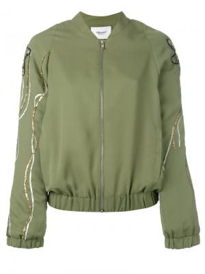 Куртка бомбер с пайетками Blugirl. Цвет: зеленый