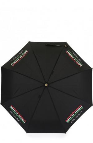 Складной зонт с принтом Moschino. Цвет: чёрный
